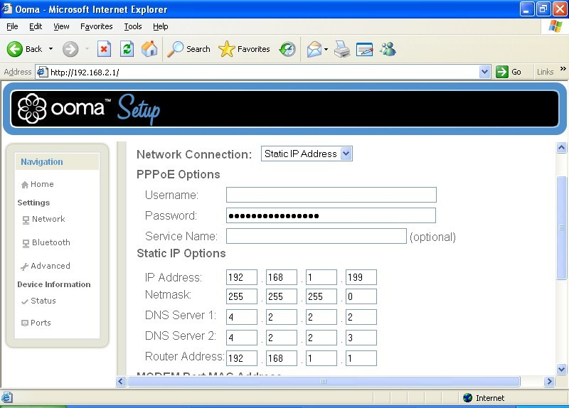 ooma connection setup